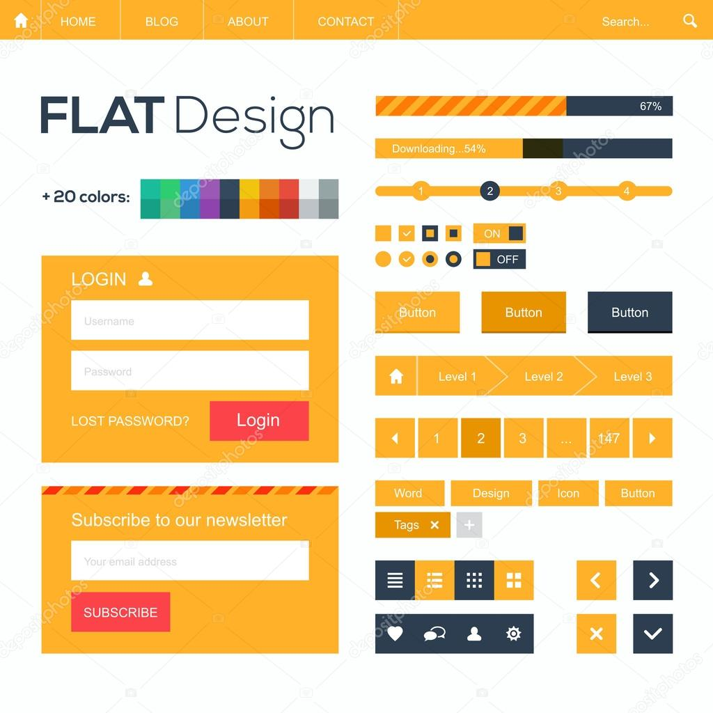 Flat web and mobile design elements, buttons, icons  Website