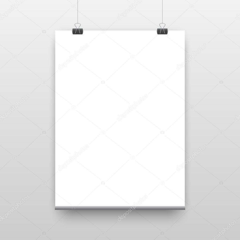 plantilla del póster de vector de una hoja de papel — Vector de ...