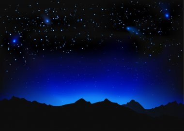 Beautiful night space landscape with silhouette mountains and stars