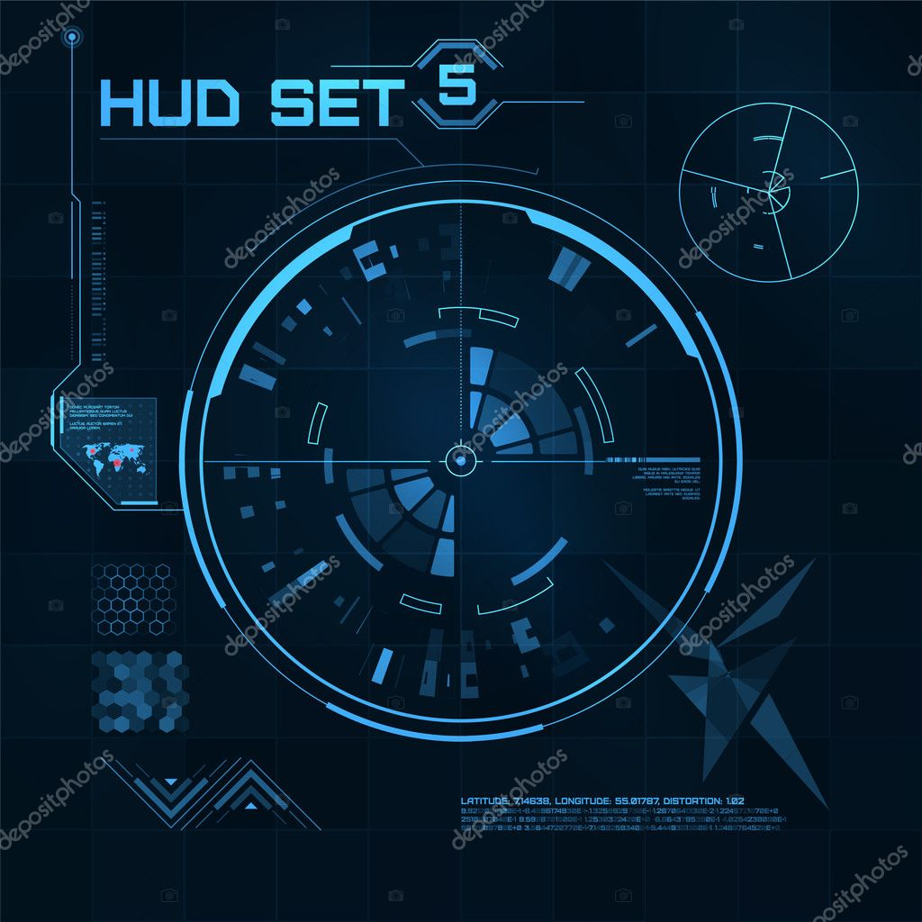 HUD and GUI set. Futuristic User Interface. — Stock Vector
