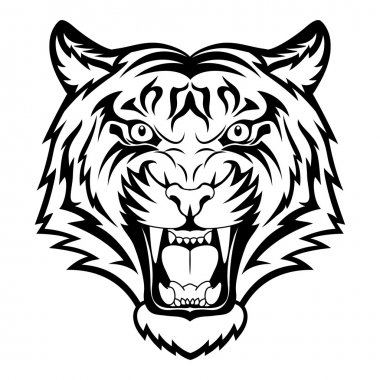Tiger anger. Black tattoo. Vector illustration of a tiger head. stock vector