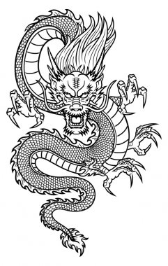 Traditional Asian Dragon. This is vector illustration ideal for a mascot and tattoo or T-shirt graphic. stock vector