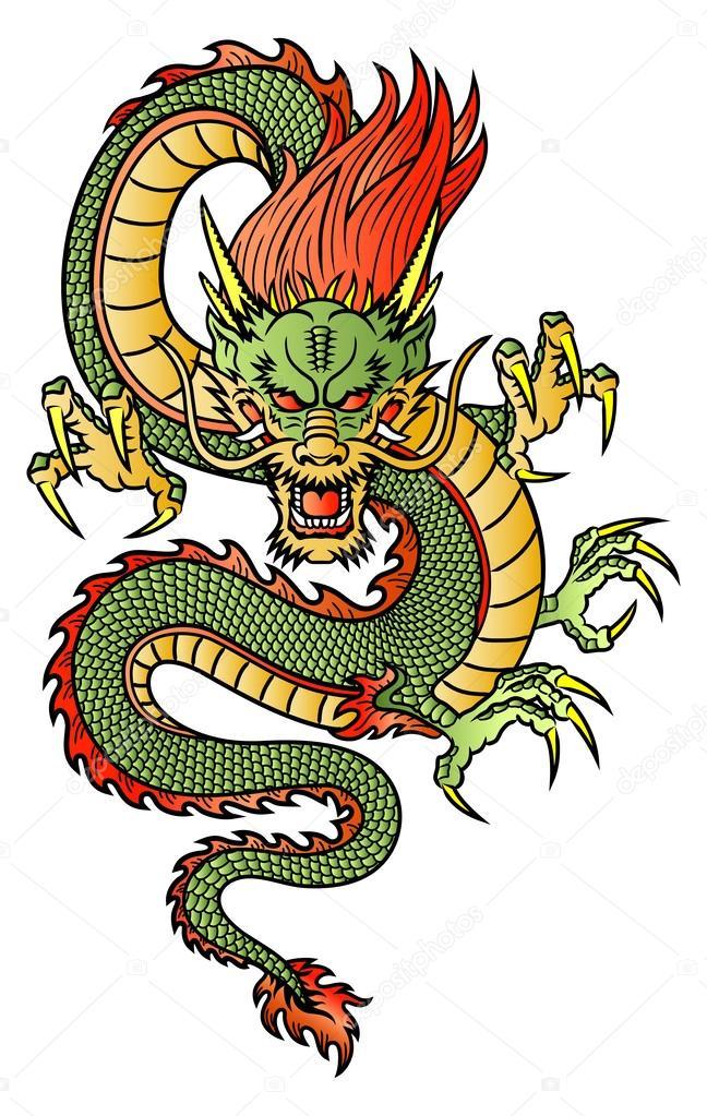 A green serpent like dragon meets a direct gaze