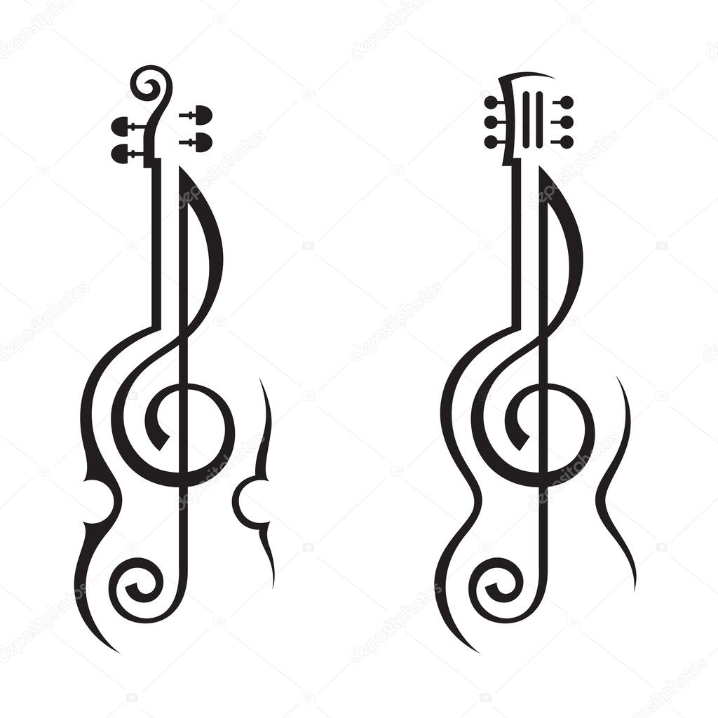 guitar and treble clef — Stock Vector #19568991