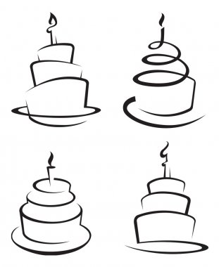 Monochrome set of four cakes stock vector