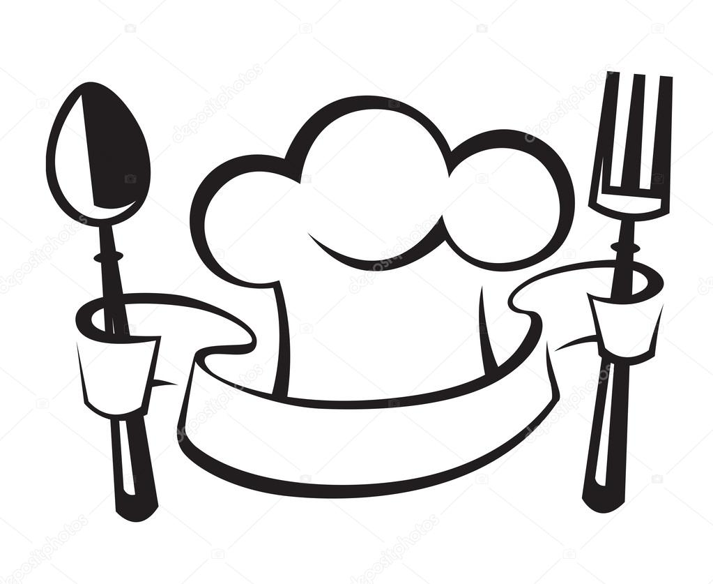 Chef hat, spoon and fork — Stock Vector © alexkava #41824101