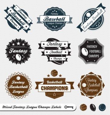 Vector Set: Mixed Fantasy Sports League Champs