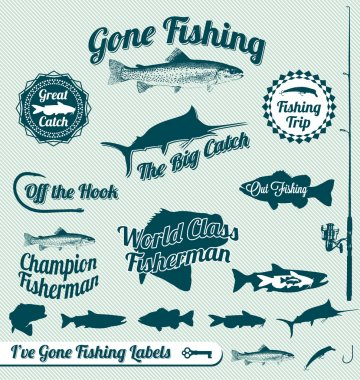 Vector Set: Gone Fishing Labels and Awards
