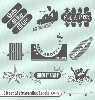 Vector Set: Skateboarding Labels and Badges