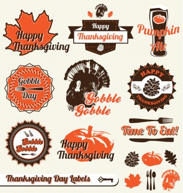 Vector Set: Retro Happy Thanksgiving Day Labels