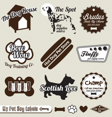 Vector Set: Retro Dog and Pet Shop Labels and Stickers