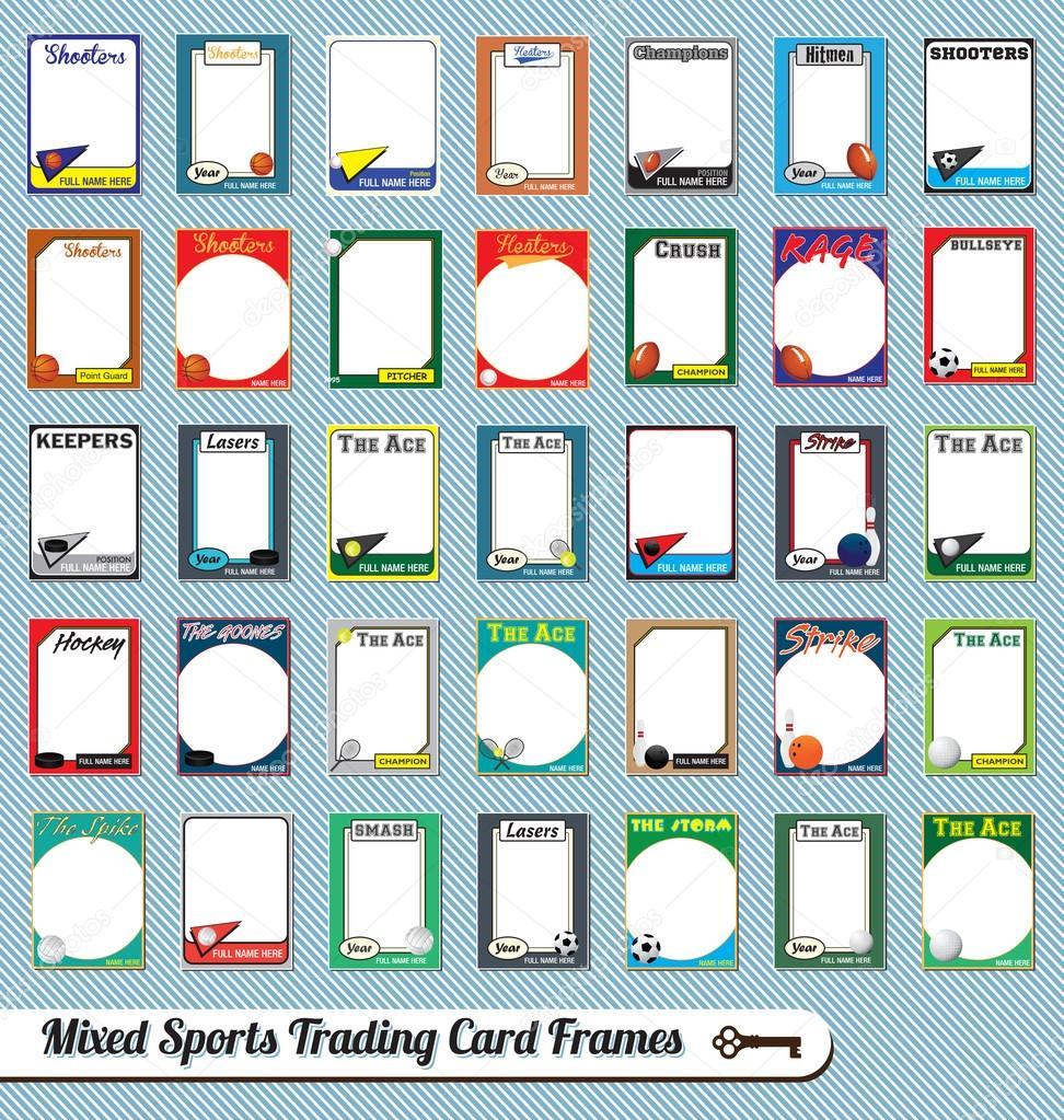 Vektor Retro gemischten Sport Trading-Card-Bilderrahmen ...