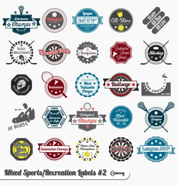 Vector Set: Vintage Mixed Sports Labels and Stickers