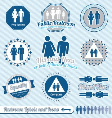 Vector Set: Bathroom Restroom Labels and Icons