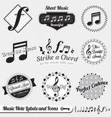 Vektorové Set: Ročník hudební konstatuje, štítky a ikony