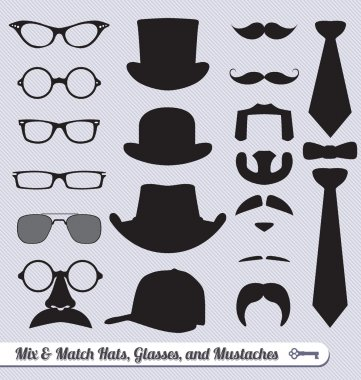 Mix and match collection of glasses, hats, mustaches, and ties stock vector