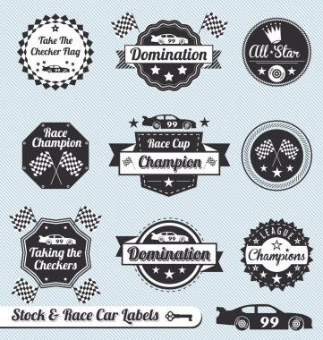 Vector Set: Race Car Champion Labels and Badges