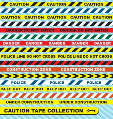 Vector Set: Caution Tape Labels and Banners