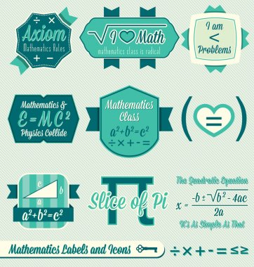 Vector Set: Vintage Math Class Labels and Icons