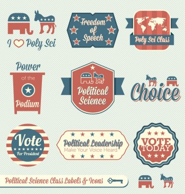 Vector Set: Vintage Political Science Class Labels and Icons