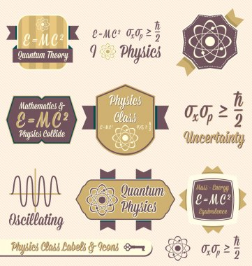 Collection of retro style physics class labels and icons for back to school stock vector