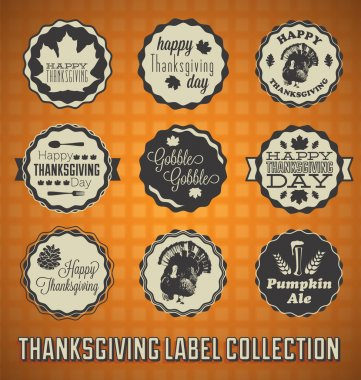 Vector Set: Vintage Happy Thanksgiving Day Labels
