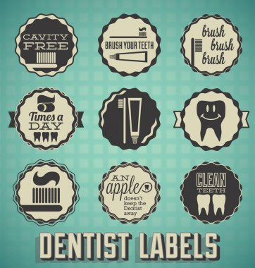 Vector Set: Dentist and Teeth Brushing Labels and Icons