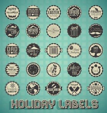 Vector Set: Mixed Vintage Holiday Labels and Icons
