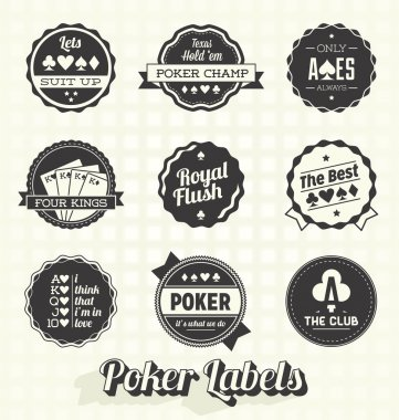 Vector Set: Vintage Poker Labels