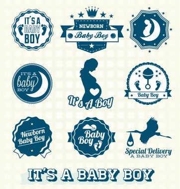 Vector Set: It's A Baby Boy Labels and Icons