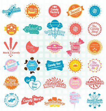 Vector Set: Retro Candy and Sweets Labels and Icons