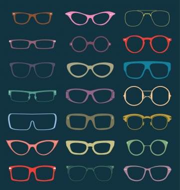 Collection of vintage style and colored glasses silhouettes stock vector