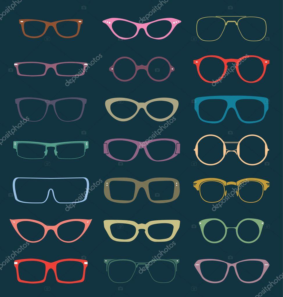 Vector Set: Retro Glasses Silhouettes