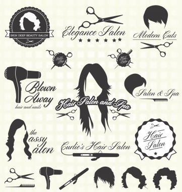 Collection of retro style hair salon labels and icons clip art vector