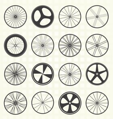 Collection of retro style bike wheel silhouettes stock vector