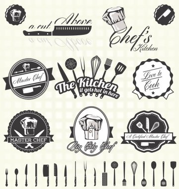 Vector Set: Retro Master Chef Labels and Icons