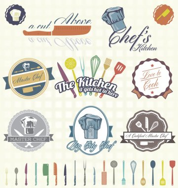 Vector Set: Retro Cooking and Chef Labels