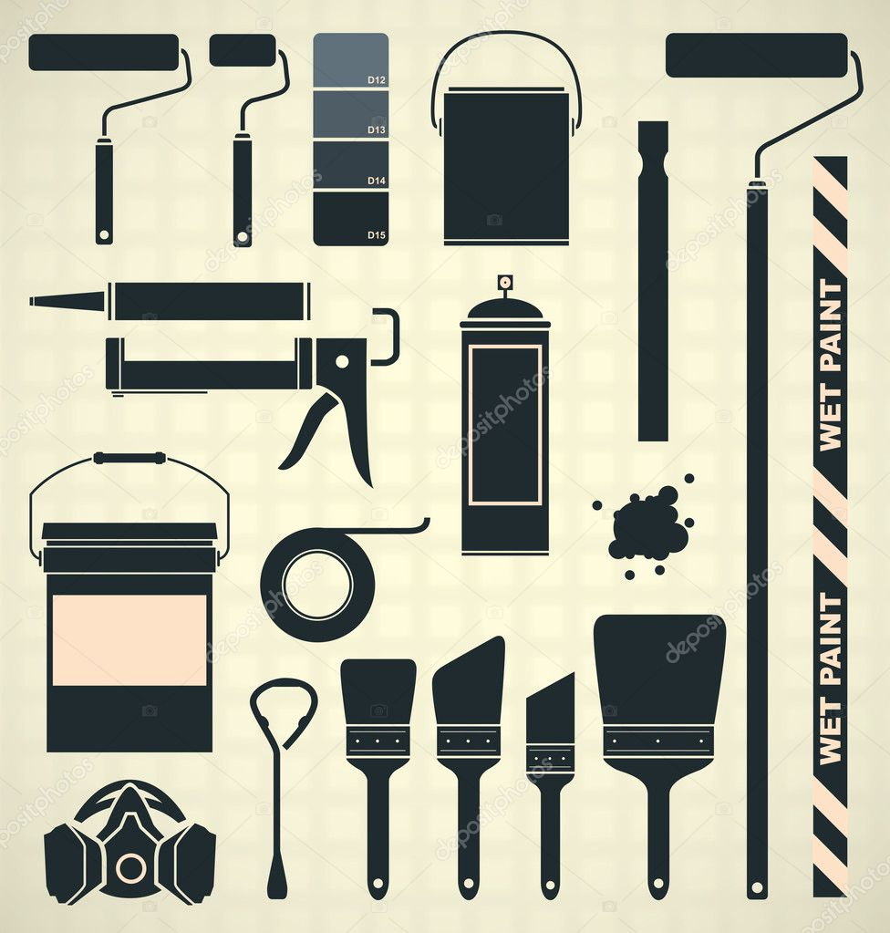 Vector Set: Painting Supply Silhouettes and Icons