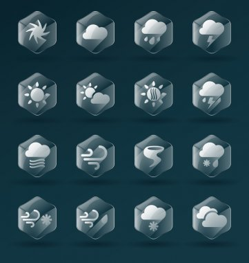 Collection of dimensional glass weather icons and symbols for web or print clip art vector