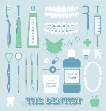Vector Set: Dentist and Tooth Care Icons