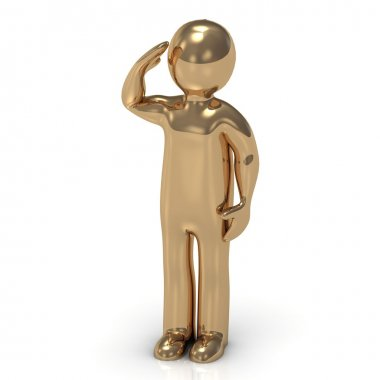 3D gold man soldier salutes