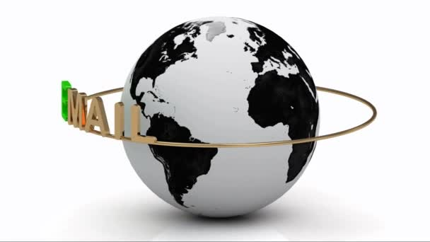 Email newsletters on a gold ring rotates around the earth