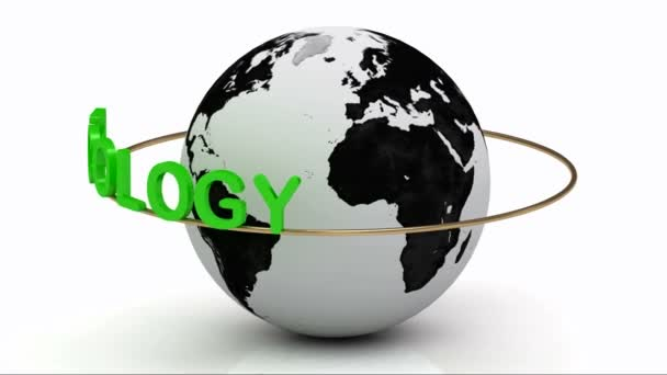 Green ecology on a gold ring rotates around the earth