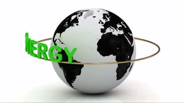 Zelená energie na zlatý prsten se otáčí kolem země
