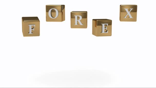 FOREX sign with white letters on a gold rotating cubes in the air