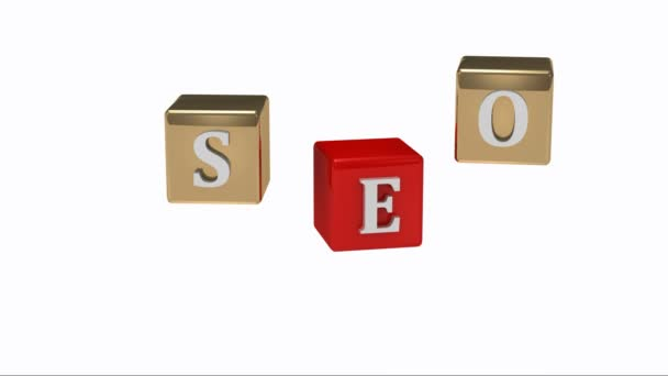 SEO inscription white letters on gold and red cubes rotating in the air