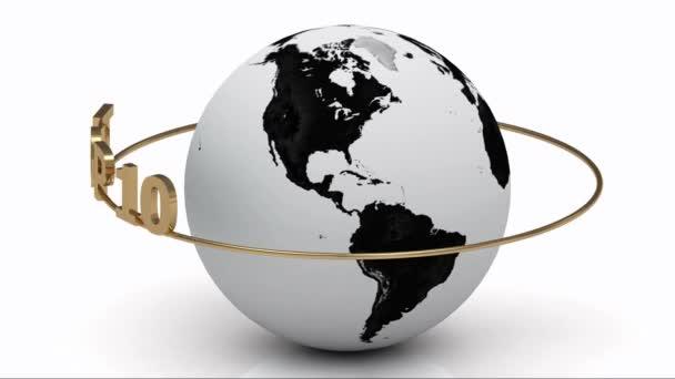 rotierende Erde und der Schriftzug Top 10 auf einem Goldring