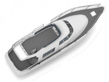 Motorized pleasure boat located diagonally