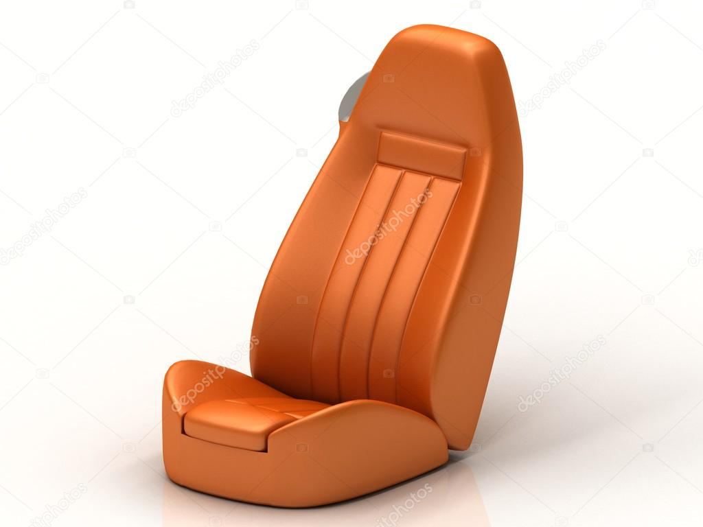 Orange Car Seat From The Luxury Isolated Stock Photo
