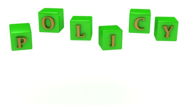 POLICY inscription gold letters on the green cubes in the air rotating